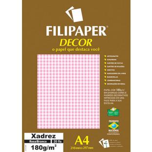 Filipaper DECOR Xadrez Rosa/Branco - 180g/m² A4 (20fls) - FRETE GRÁTIS - FP02715