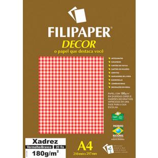 Filipaper DECOR Xadrez Vermelho/Branco - 180g/m² A4 (20fls) - FRETE GRÁTIS - FP02716