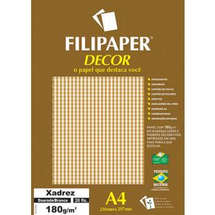 Filipaper DECOR Xadrez Dourado/Branco - 180g/m² A4 (20fls) - FRETE GRÁTIS - FP02717