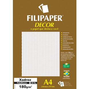 Filipaper DECOR Xadrez Prata/Branco - 180g/m² A4 (20fls) - FRETE GRÁTIS - FP02718