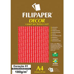 Filipaper DECOR Coração 01 Branco/Vermelho - 180g/m² A4 (21cm x 29,7cm) - 20fls FRETE GRÁTIS FP02755