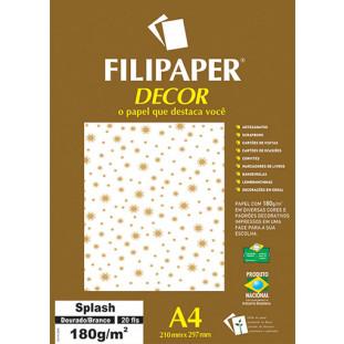Filipaper DECOR Splash Dourado/Branco - 180g/m² A4 (21cm x 29,7cm) - 20fls - FRETE GRÁTIS - FP02761
