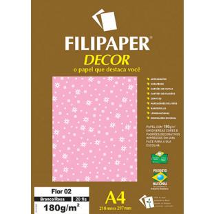 Filipaper DECOR Flor 02 Branco/Rosa - 180g/m² A4 (21cm x 29,7cm) - 20fls - FRETE GRÁTIS - FP02779