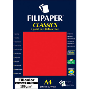 Filipaper Filicolor 180g/m² (50 folhas; vermelho) A4 - FRETE GRÁTIS - FP03414