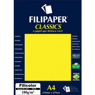 Filipaper Filicolor 180g/m² (50 folhas; amarelo) A4 - FRETE GRÁTIS - FP03415