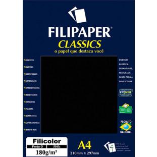 Filipaper Filicolor 180g/m² (50 folhas; preto) A4 - FRETE GRÁTIS - FP03418