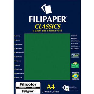 Filipaper Filicolor 180g/m² (50 folhas; verde) A4 - FRETE GRÁTIS - FP03445