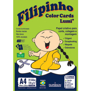 Filipinho Color Cards LUMI 5 cores A4 - FRETE GRÁTIS - FP02303