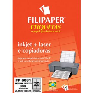FP 6081 Filipaper Etiqueta 25,4x101,6 mm - 20 etiquetas por folha Carta 10 fls FRETE GRÁTIS FP04424