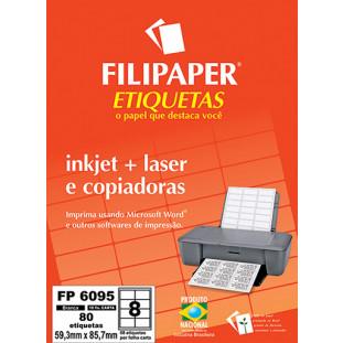 FP 6095 Filipaper Etiqueta 59,3x85,7 mm - 8 etiquetas por folha Carta 10 fls FRETE GRÁTIS FP04431