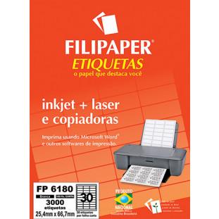 FP 6180 Filipaper Etiqueta 25,4x66,7 mm - 30 etiquetas por folha Carta 100 fls FRETE GRÁTIS FP04406