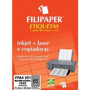 FP A4251 Filipaper Etiqueta 21,2x38,2 mm - 65 etiquetas por folha A4 25 fls - FRETE GRÁTIS - FP04453