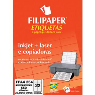 FP A4254 Filipaper Etiqueta 25,4x99 mm - 22 etiquetas por folha A4 25 fls - FP04454