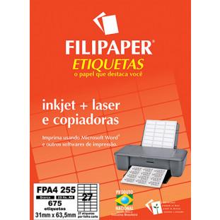 FP A4255 Filipaper Etiqueta 31x63,5 mm - 27 etiquetas por folha A4 25 fls - FRETE GRÁTIS - FP04455