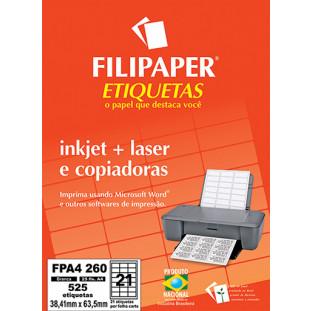 FP A4260 Filipaper Etiqueta 38,1x63,5 mm - 21 etiquetas por folha A4 25 fls - FRETE GRÁTIS - FP04457