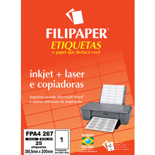 FP A4267 Filipaper Etiqueta 288,5x200 mm - 1 etiquetas por folha A4 25 fls - FP04460