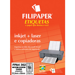 FP A4362 Filipaper Etiqueta 33,9x99 mm - 16 etiquetas por folha A4 100 fls - FRETE GRÁTIS - FP04445