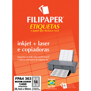FP A4363 Filipaper Etiqueta 38,1x99 mm - 14 etiquetas por folha A4 100 fls - FRETE GRÁTIS - FP04446