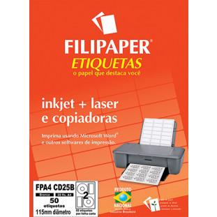 FP A4 CD25 Filipaper Etiqueta para CD - A4 115 mm 25 fls - FRETE GRÁTIS - FP04435